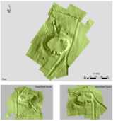 Digital terrain model of the mound at Tulsk, Co. Roscommon. 1 = outer fosse, 2 =avenue, 3 = series of lesser infields, 4 = well embankments 5 = later field division 6 =rectangular structure 7= later field division