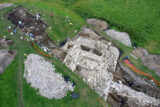 Aerial image of the stone tower uncovered during excavations at the mound at Tulsk, Co. Roscommon.