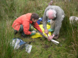 Using a core to sample the sediment around Lough Kinale, Co. Longford