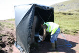 Strong sunlight in the field requires the use of a blackout tent when using structured light scanners