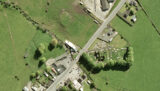 Aerial view of Tulsk Priory and the mound in Tulsk Village, Co. Roscommon