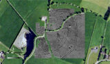 Results from Geophysical survey at Faughan Hill, Co. Meath. Geophysical survey results are overlaid on aerial photograph of the site.